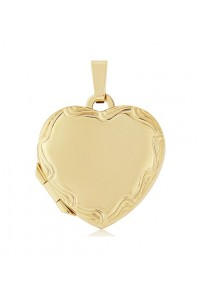 9ct Gold 17x15mm Engraved Heart Locket LK222